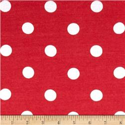 Cotton Baby Rib Knit Dots Red/White