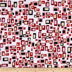 ITY Knit Art Deco Squares Red/Black/White