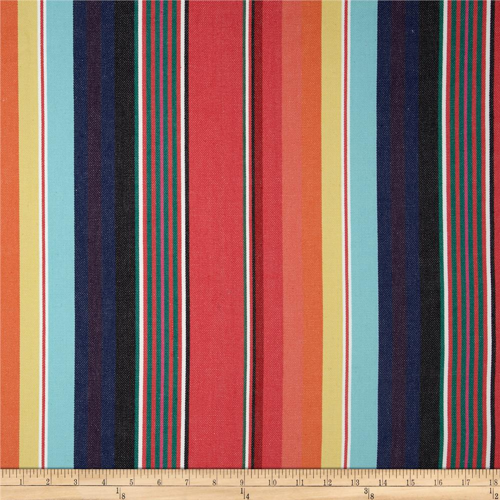 Kaufman Serape Stripes Deluxe Cotton Grey/Coral