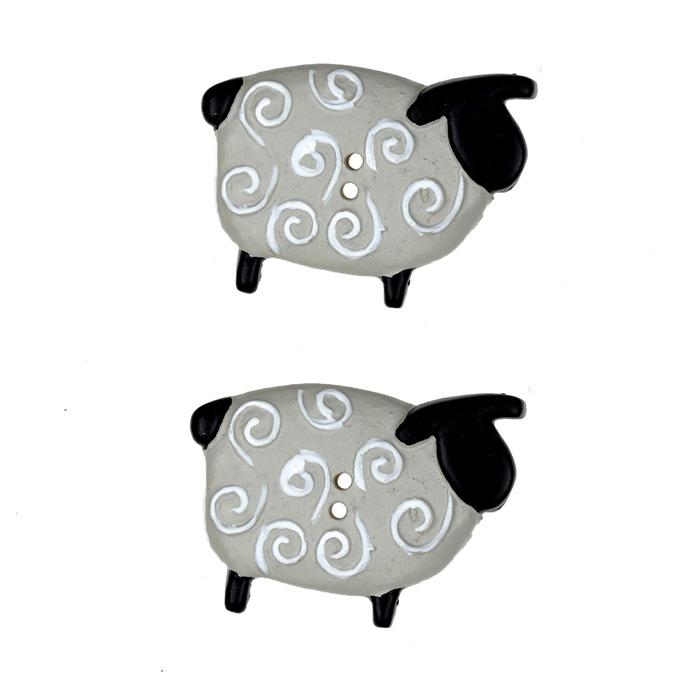 Novelty Button 1 1/4'' Fleecie Flo Sheep Grey