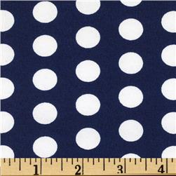 Printed Broadcloth Medium Polka Dot Navy/White