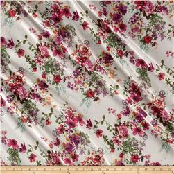 French Designer Cotton Voile Floral Ivory/Multi