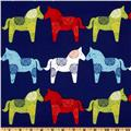 Michael Miller Retro Wooden Horses Royal