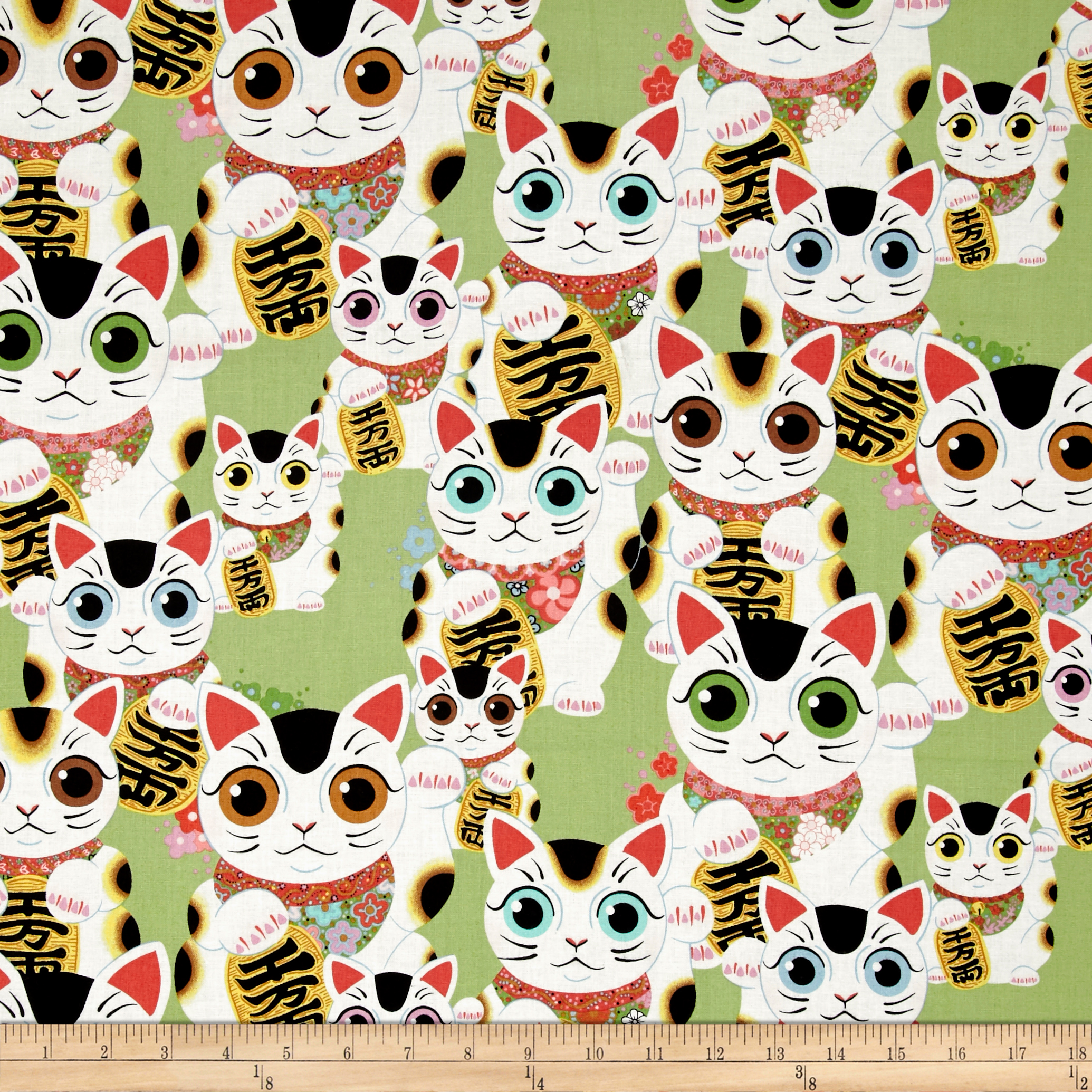 Alexander Henry Indochine Fuku Kitty Sage Fabric by Alexander Henry in USA