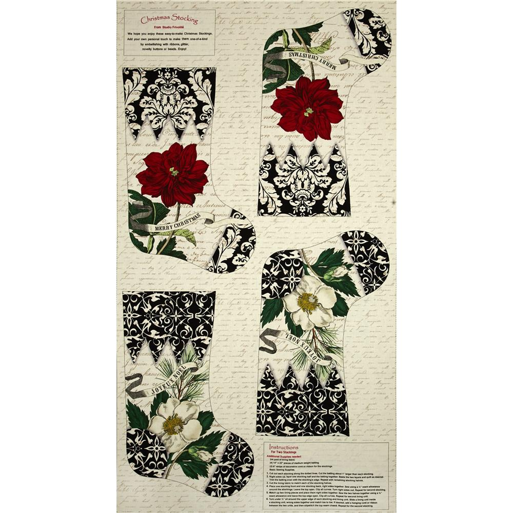 Joyeux Noel 24 In. Stocking Panel Ecru