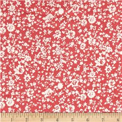 Rayon Challis Miniature Florals Coral/White