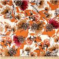 Italian Digital Floral Print Viscose Jersey Knit Rust/Orange