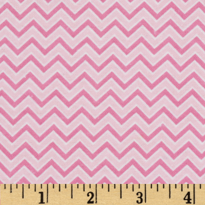 Alpine Flannel Basics Chevron Pink Fabric