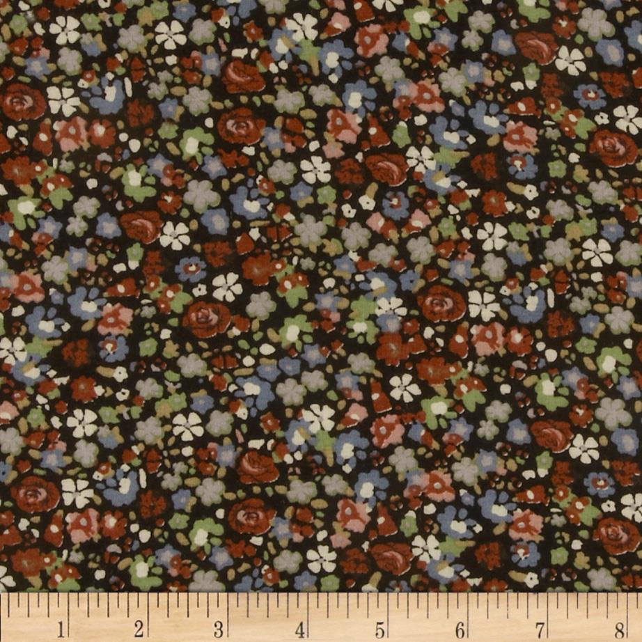Rayon Challis Floral Brown/Grey/Sage/Black