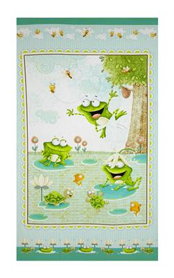 "Frogland Friends 24"" Frog Panel Aqua"