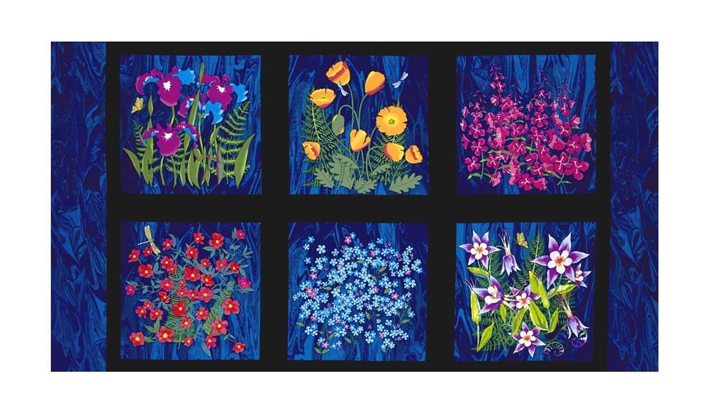 "Wildflowers Block 23.5"" Panel Light Navy"