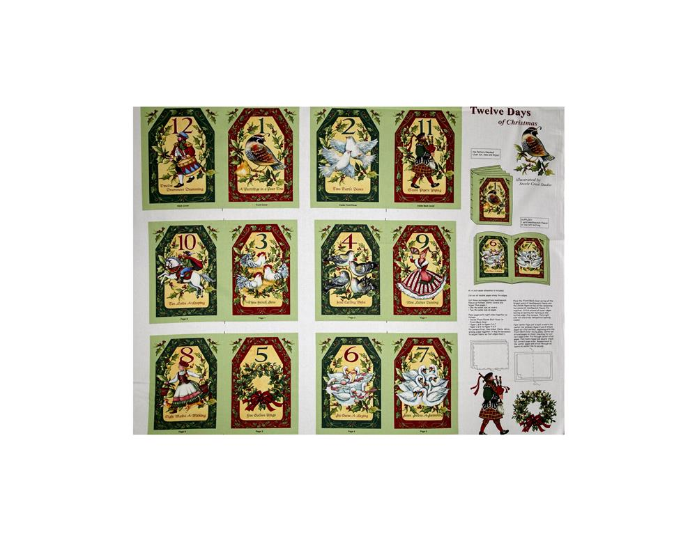 Susan Winget Old World Christmas Twelve Days of Christmas 36 In. Panel Soft Book Multi Fabric