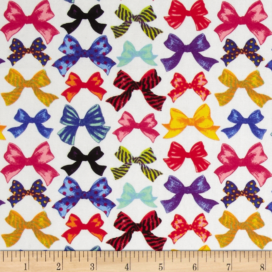 Kokka Bows White Fabric