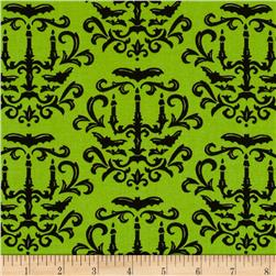 Moda Moonlight Manor Halloween Damask Moss Green