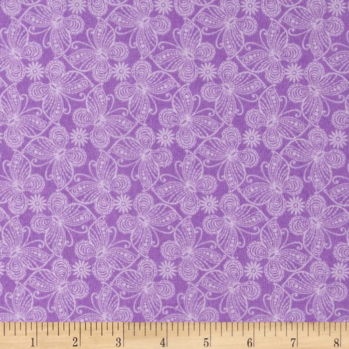 Flannel Butterflies Purple