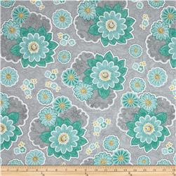 Sweet Harmony Large Floral Lace Grey/Aqua