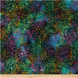 Indian Batik Footloose Abstract  Teal Multi