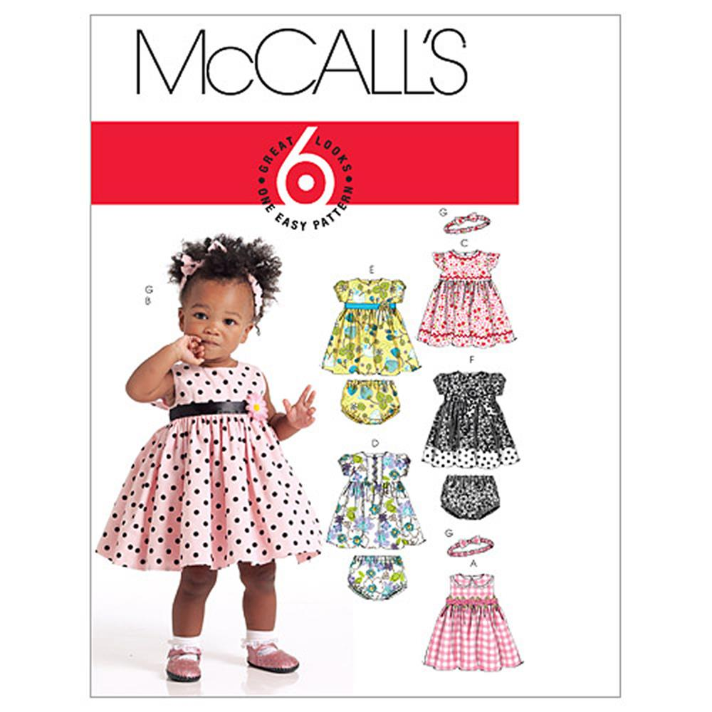 McCall's Infants' Lined Dresses, Panties and Headband Pattern M5791 Size OSZ