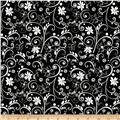 Illustrations 2 Floral Scroll Black/White