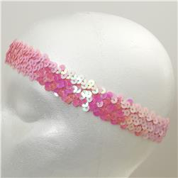 "1 1/4"" Metallic Stretch Sequin Headband  Pink Aurora Borealis"