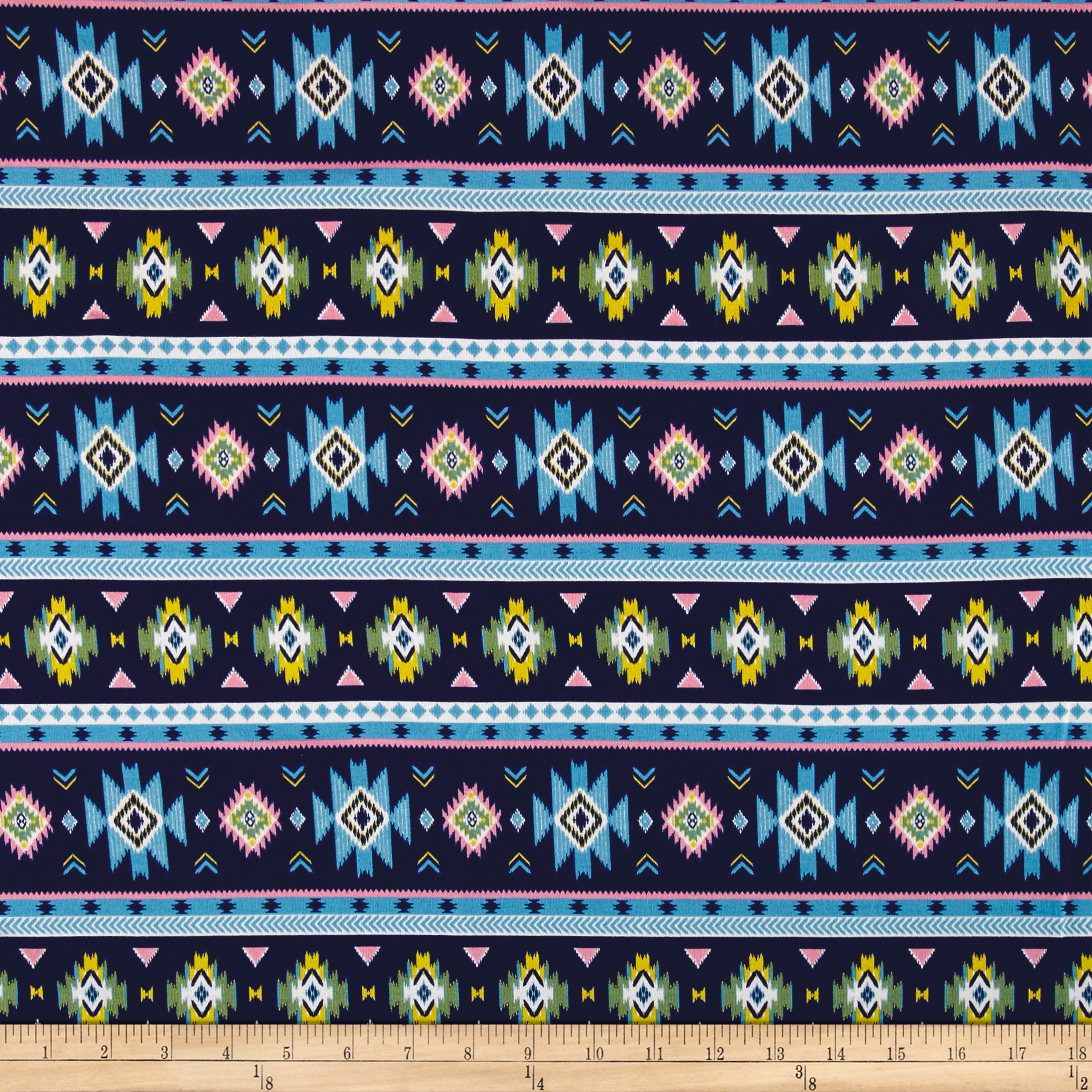 Fabric Merchants Cotton Spandex Jersey Knit Aztec Inspired Blue/Multi