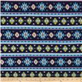 Cotton Spandex Jersey Knit Aztec Blue/Multi