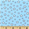 Nylon Spandex Swim Knit Stars Sky BLue