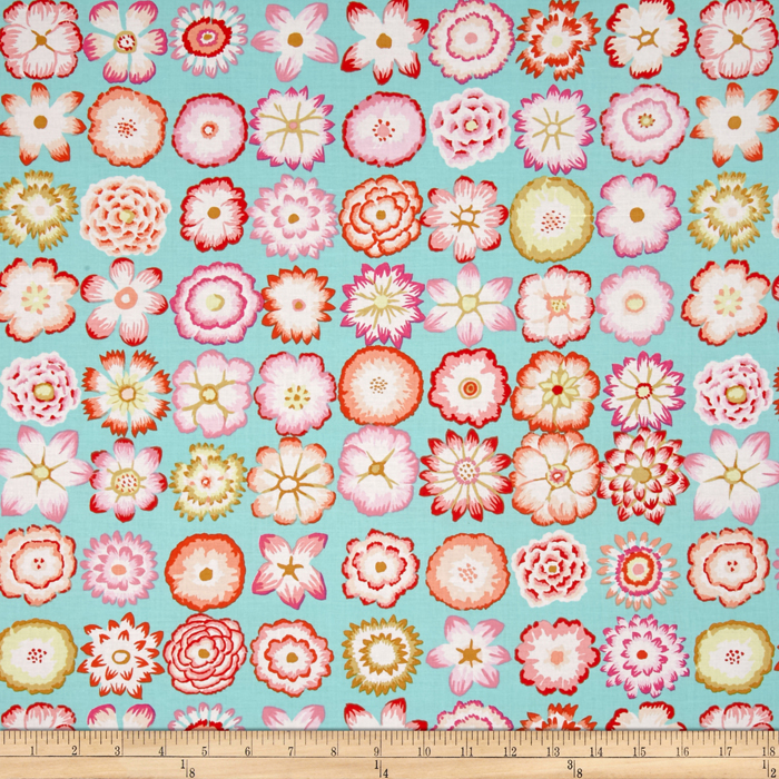 Kaffe Fassett Collective Button Flowers Aqua Fabric By The Yard