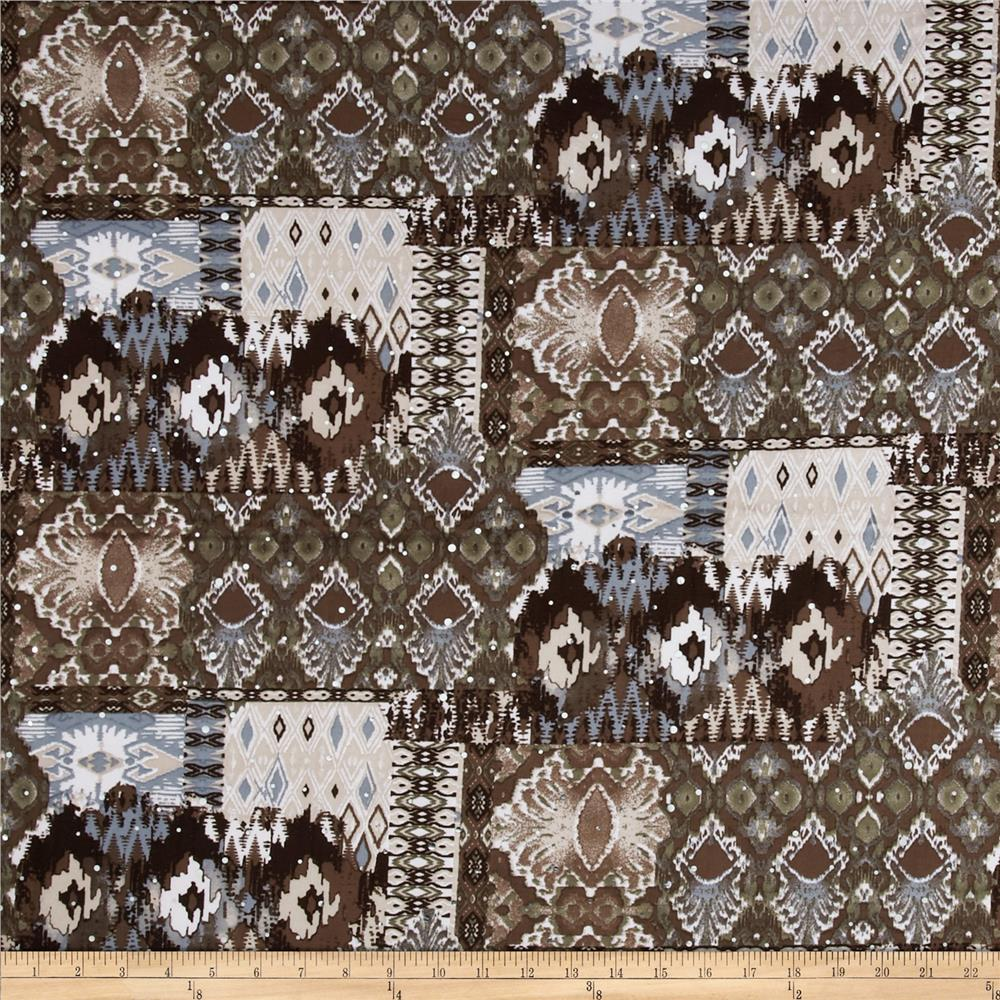 Embellished Stretch ITY Jersey Knit Ikat Brown/Grey