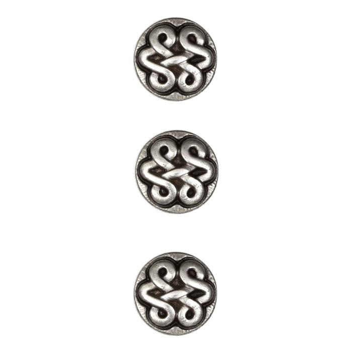 Metal Button 5/8'' Antico Antique Silver