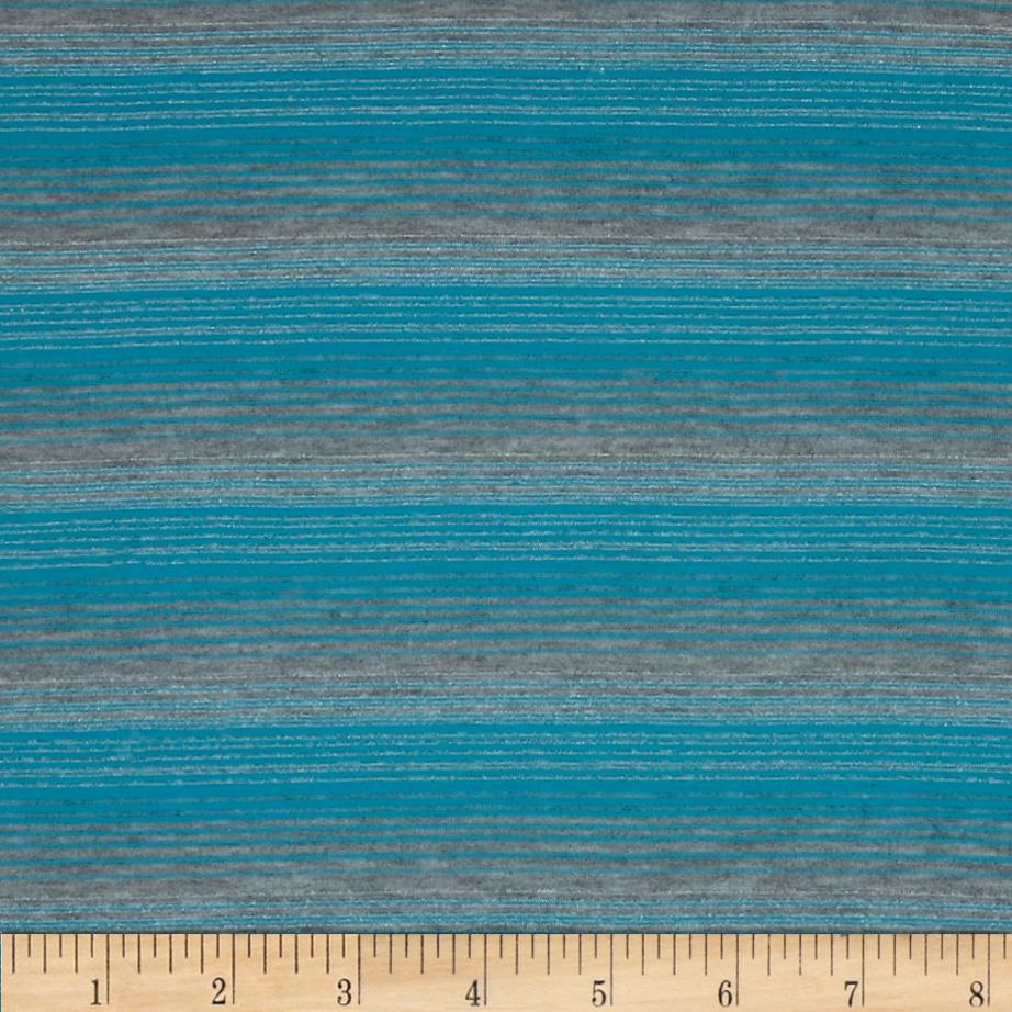 Jersey Knit Yarn Dyed Stripes Turquoise/Grey