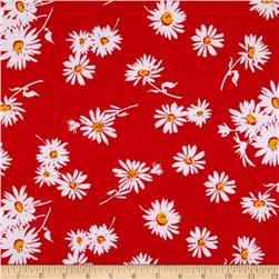 Soft Jersey Knit Floral Red/Yellow/White