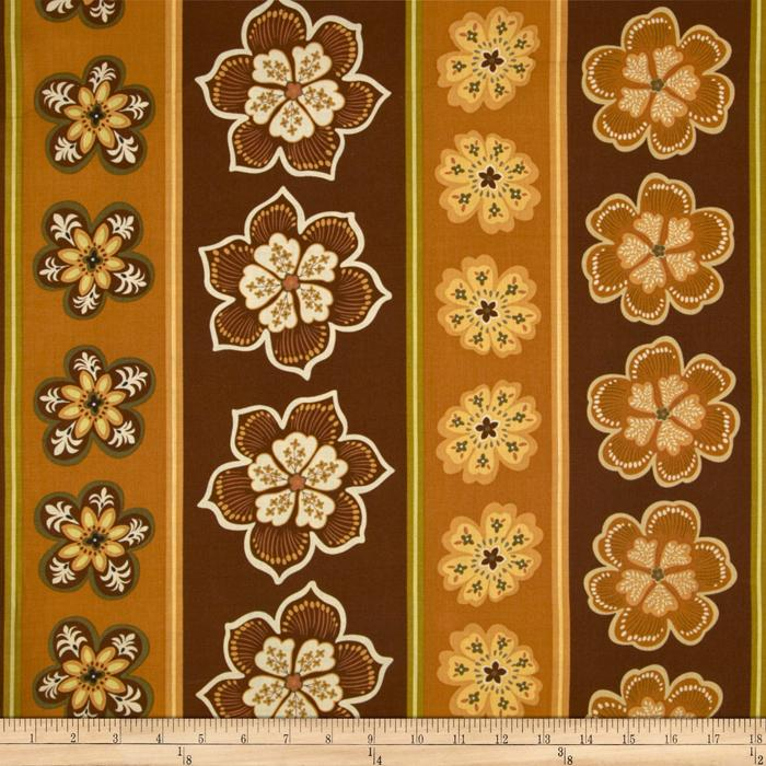 Modern Mix Pop Floral Border Stripe Cocoa/Willow
