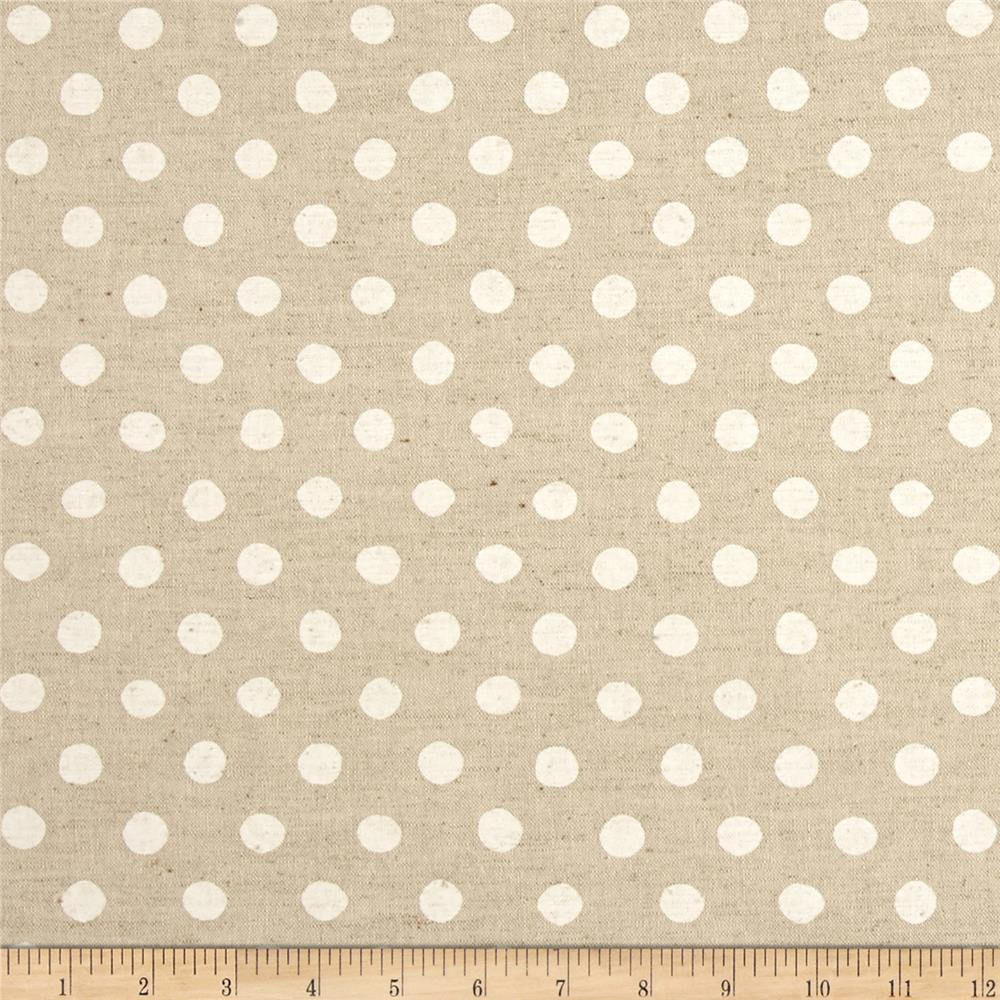 Kaufman Sevenberry Canvas Natural Dots Large White ...