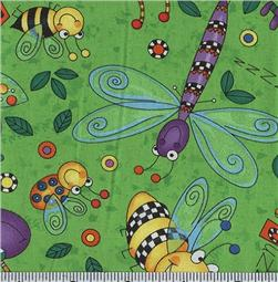 Timeless Treasures Happy Bugs Dance Lime