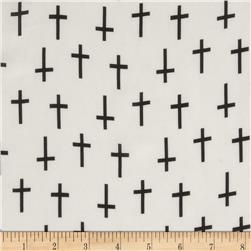 Chiffon Crosses White/Black Fabric