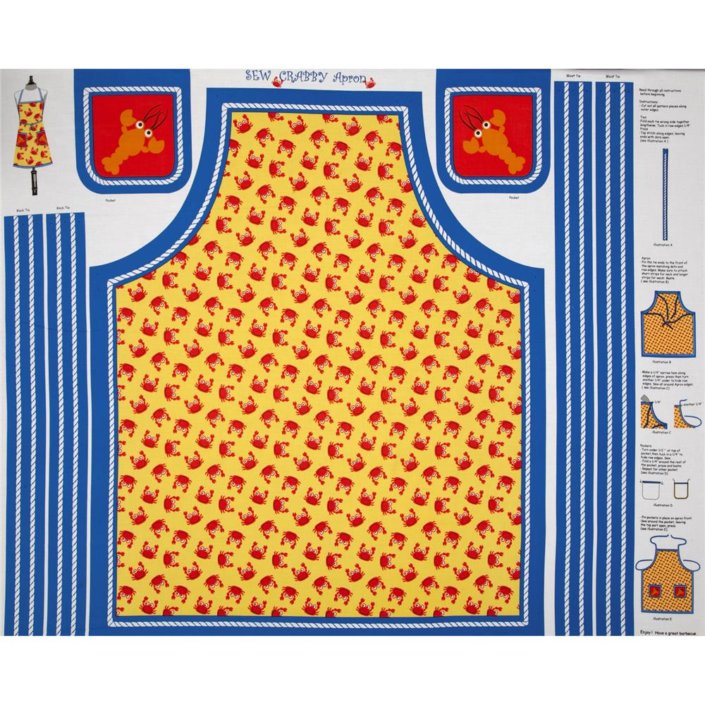 COMBINE Seaside Holiday Sew Crabby Apron Yellow/Blue