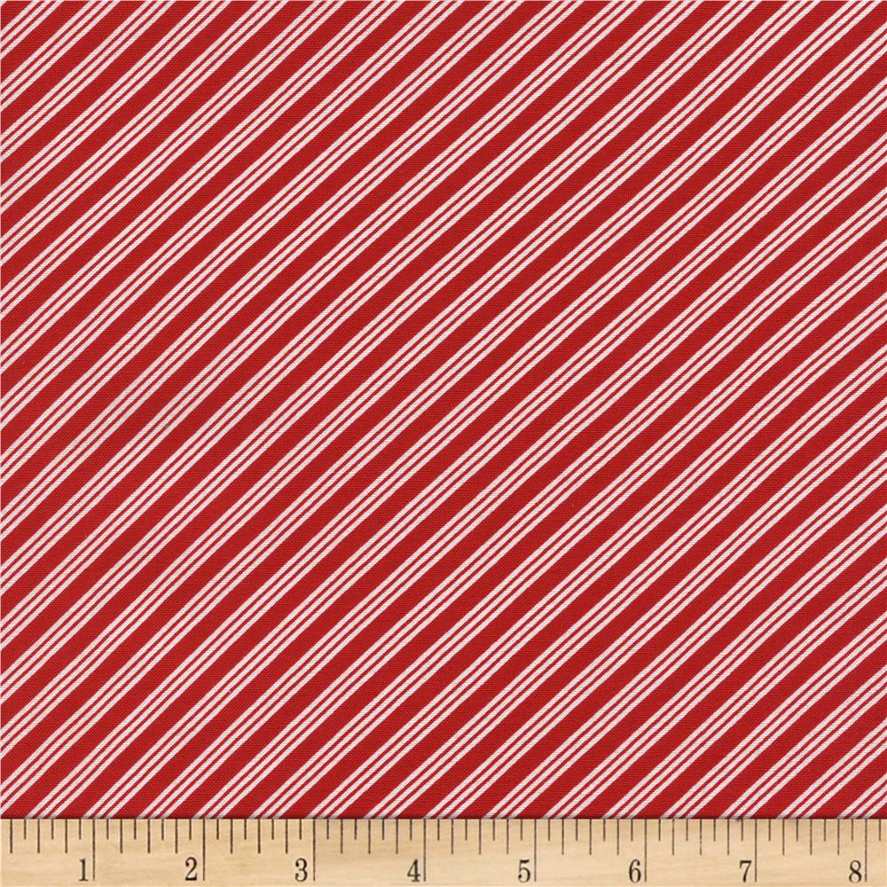 Timeless Treasures Christmas Mini Bias Stripe Red