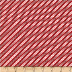 Timeless Treasures Christmas Mini Bias Stripe Red Fabric