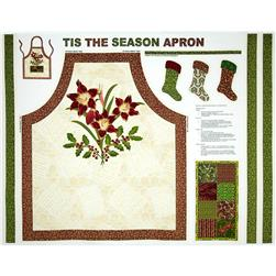 Tis The Season Holiday Apron Panel Cream