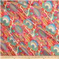 Liberty of London Regent Silk Chiffon Citronella Teal/Red/Multi