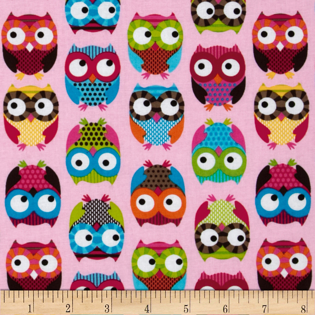 Timeless Treasures Owls Pink Fabric