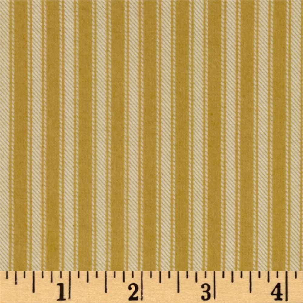 Newport Flannel Ticking Stripe Gold Fabric