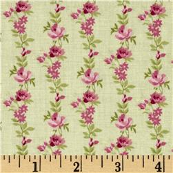 Botanical Rose Stripe Light Green