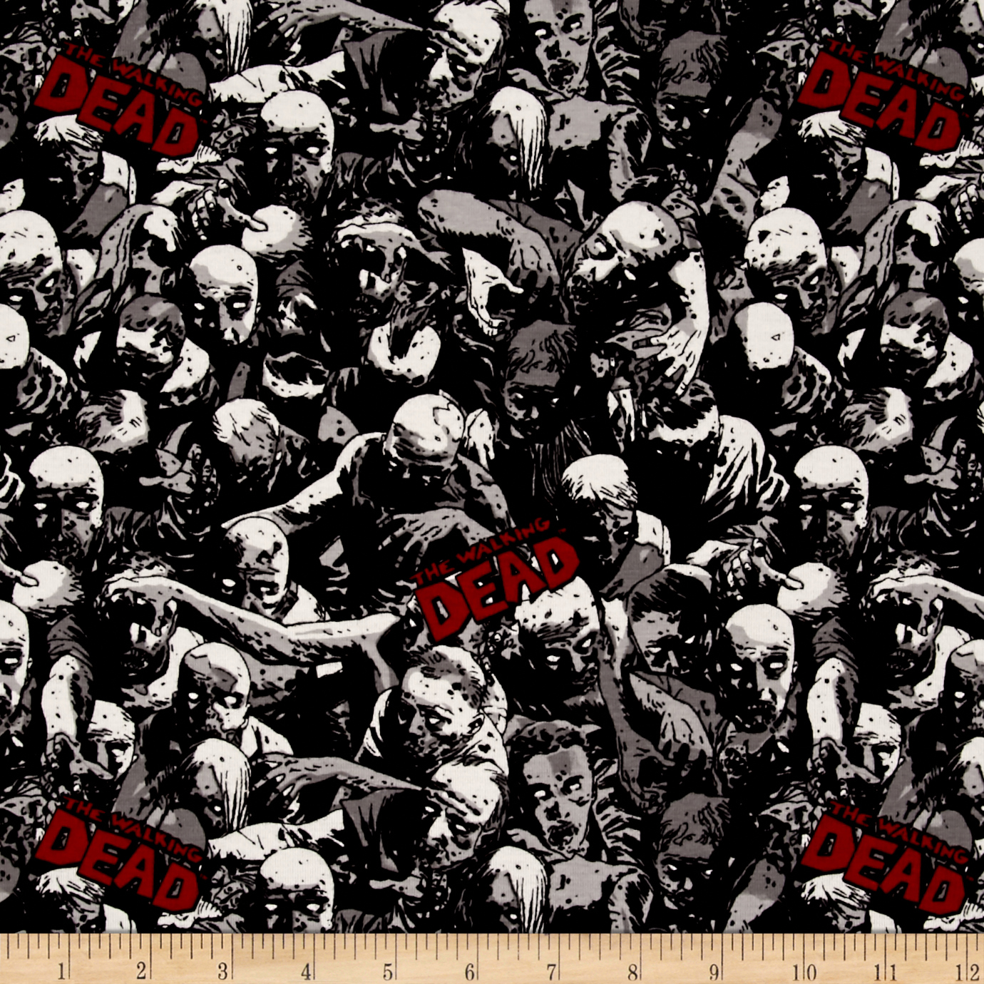 Skybound Walking Dead Zombie Crowd Jersey Knit Black Fabric by E. E. Schenck in USA