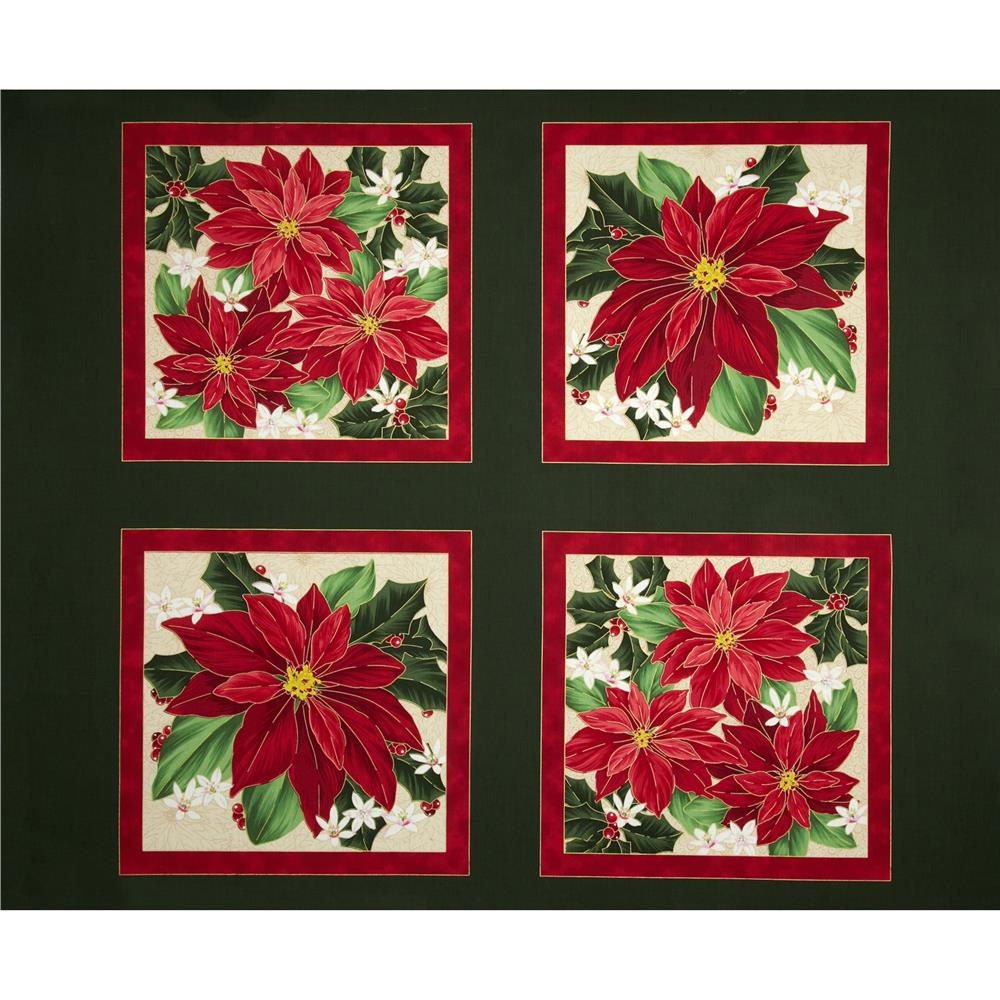 Christmas Star Poinsettia Picture Patches Panel Green