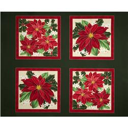 Christmas Star Poinsettia Picture Patches Panel Green Fabric