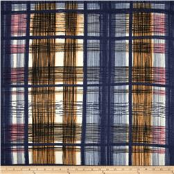 Satin Face Crepe De Chine Plaid Navy/Bronze