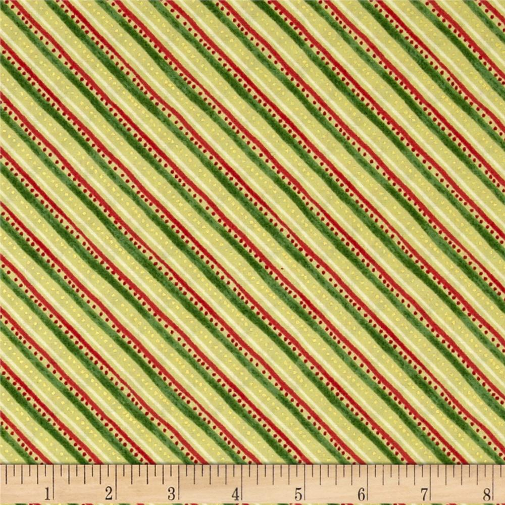 Holiday Traditions Metallic Diagonal Stripe Gold Fabric By The Yard