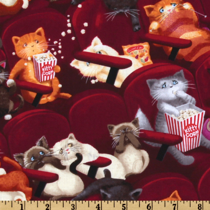 Image of Timeless Treasures Movie Theater Cats Maroon Fabric